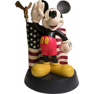 Micky Mouse Large Figure Saluting The American Flag