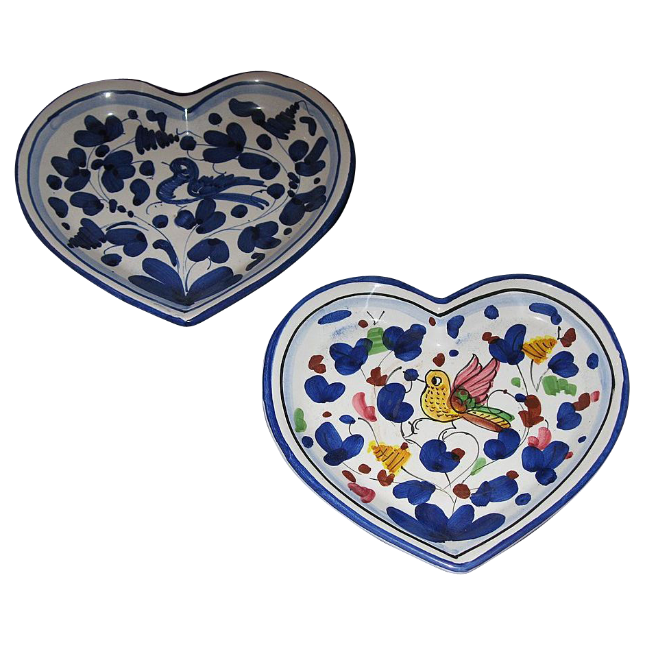 Two ceramic heart shaped dishes from oldisgoldrl on ruby lane for Heart shaped jewelry dish