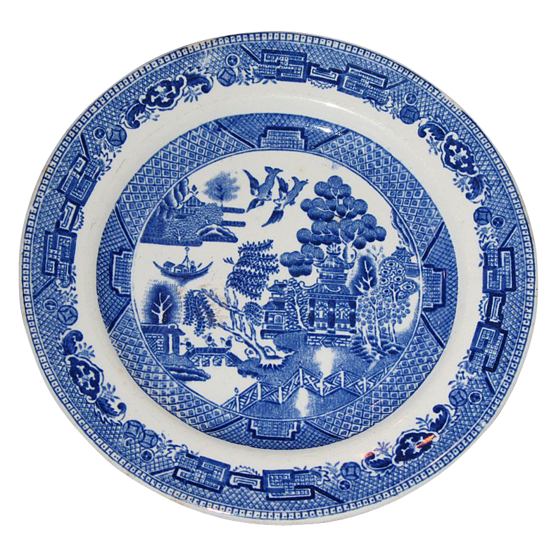 Semi-vitreous bread and butter plate by Ridgeway China Co.  Blue Willow pattern.