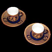 Cobalt Blue demitasse cup and saucer set. (2)