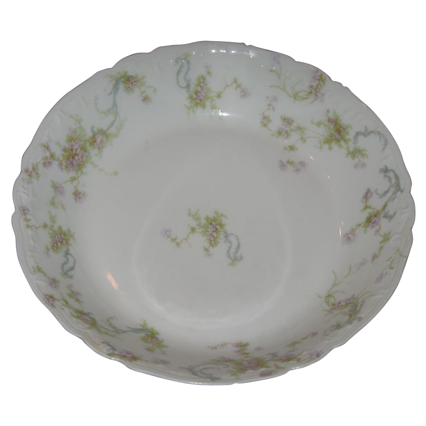 Haviland-Limoges bowl . Pink roses and green ferns.