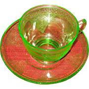 Cup and saucer set.   Federal Glass Co.
