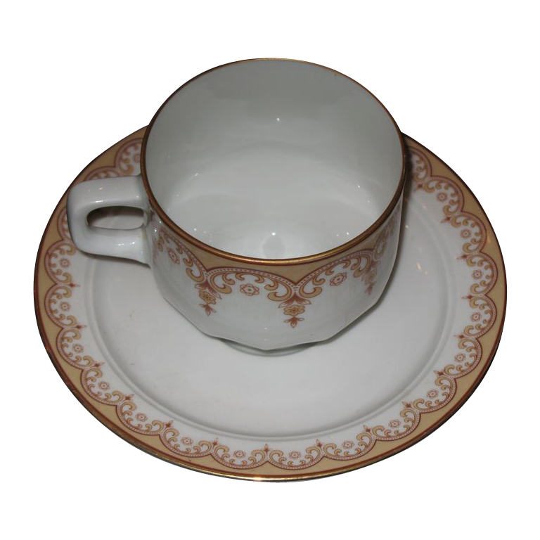 Cup and Saucer set, ESCHENBACH  Golds and browns.
