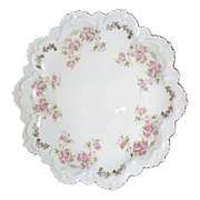 Hapsburg China plate ,, Austria , Ruffles and pink roses