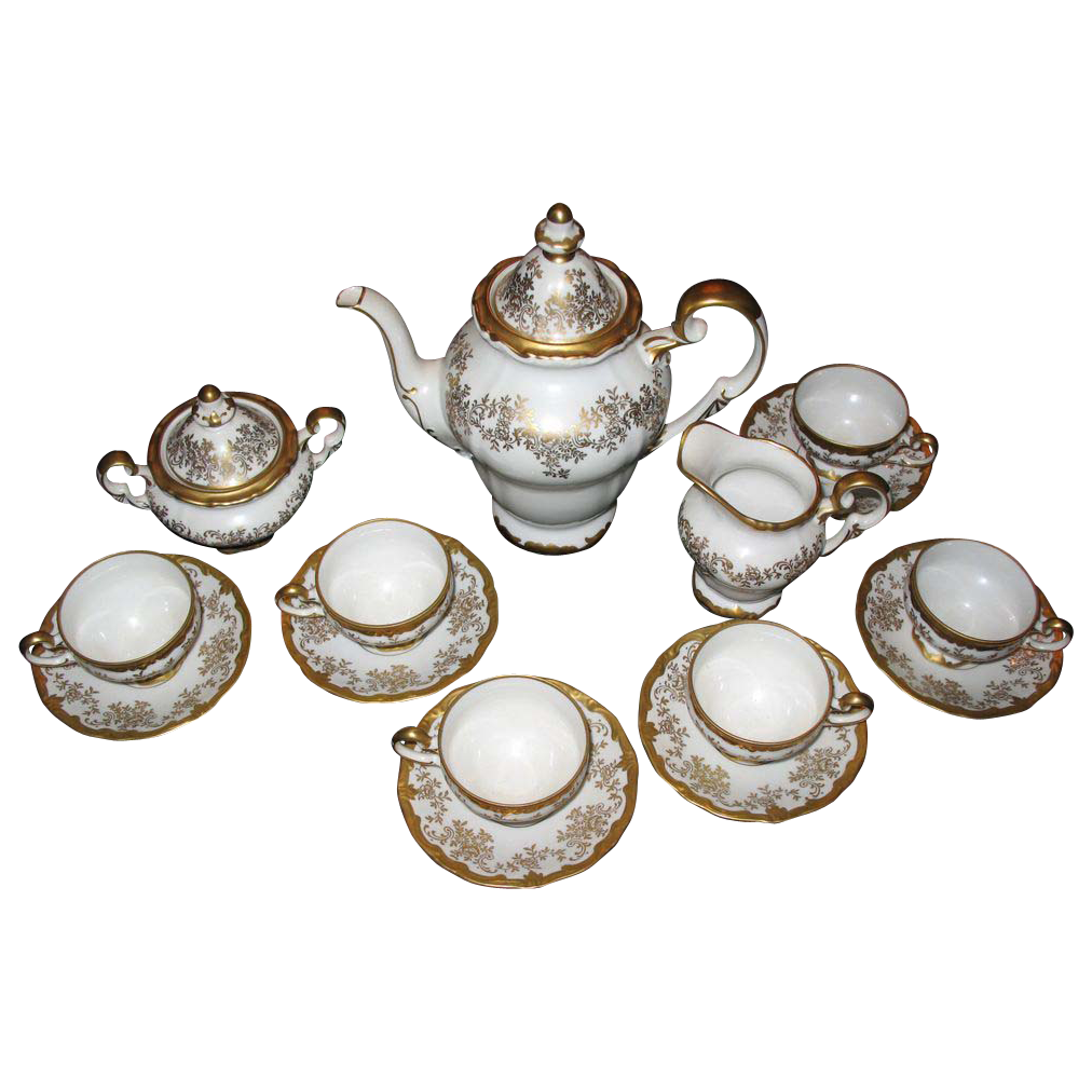 WEIMER COFFEE SET  complete gold gilt with garlands of flowers