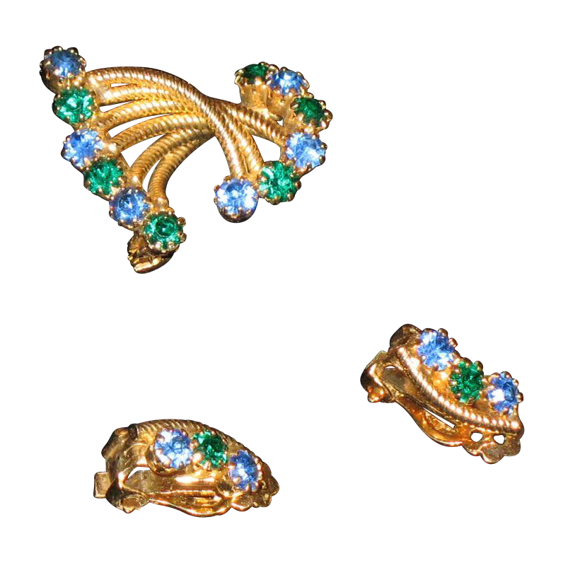 Vintage costume jeweled brooch and matching clip earrings