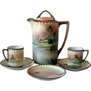 Nippon M handpainted tea or coffee set idyllic scene