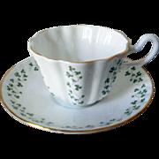 Royal Tara Hall bone china tea cup with saucer shamrock clover design made in Galway Ireland