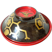 Japanese lidded lacquered bowl with gold tsuru cranes and turtles