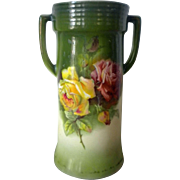 Vintage Czechoslovakian vase with handles and roses