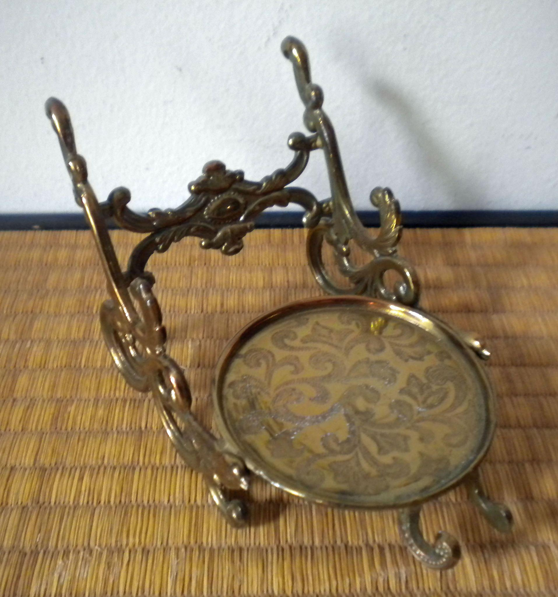 Vintage Brass Cup And Saucer Display Stand With Birds Made