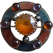 Scottish agate circle brooch or kilt pin