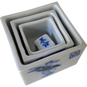 Japan ceramic geisha house drinking game - nesting boxes and dice