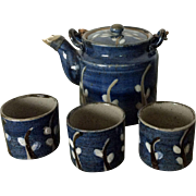Vintage Otagiri OMC blue earthenware teapot and 3 .
