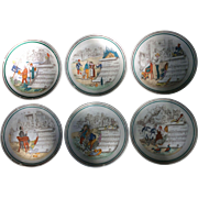 Six Vintage PV French opera dessert or luncheon plates