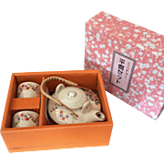 Miniature soju serving set as crackle finish teapot and 2 cups made in Japan