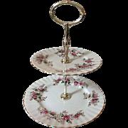Royal Albert Lavender Rose 2-tier bone china serving tray