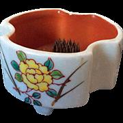 Mini Ikebana flower arranging vase with mini frog stem holder
