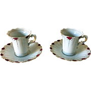Occupied Japan demitasse cups and saucers - 2 with Egyptian style design