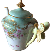 Vintage dragonfly handle teapot unsigned