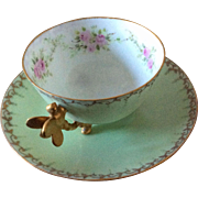 W.G. & Co. France dragonfly handle footed demitasse or tea cup with saucer