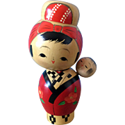Vintage signed kokeshi mother and child