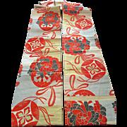 Vintage Japan obi belt with temari ball design