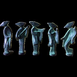 "Quintet of Mid-Century Modern cast iron Sado dancers and musician - rare 4"" minis"