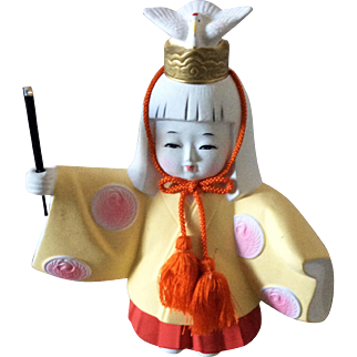 Vintage bisque figurine doll by Toyo - Chihaya odori by Miko, a shrine maiden