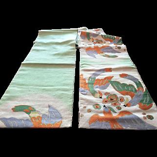 Vintage brocade obi Japan sash belt for kimono with colorful birds
