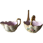 A L Limoges France anchor creamer and sugar bowl basket with gold handles and highlights