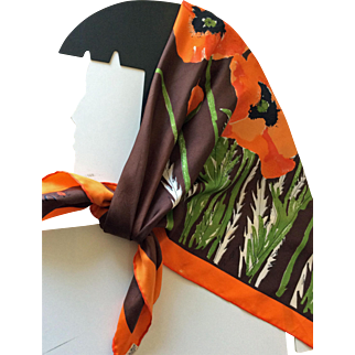Vintage Vera silk scarf made in Japan - orange poppies on brown