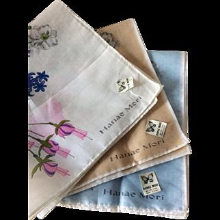 Set of 3 unused floral 100% cotton hankies by Hanae Mori
