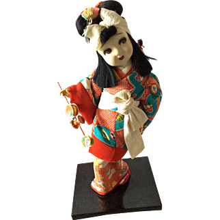 Vintage Japanese dancing Mother & Baby with toy - den den daiko
