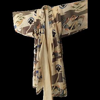 Vintage baby boy kimono with symbols of family crest