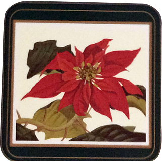 Vintage Pimpernel Poinsettia Pulcherrima coasters - Huntington Library reproduction of 1838 Botany prints