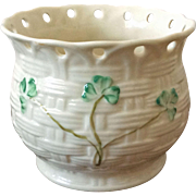Belleek Ireland Millennium 2000 pierced shamrock planter vase