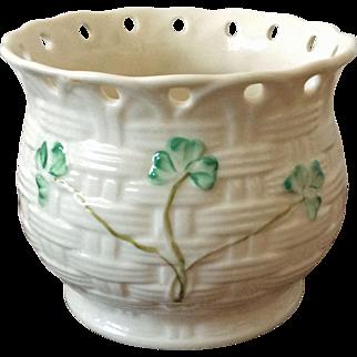 Belleek Ireland Millennium 2000 pierced shamrock planter vase