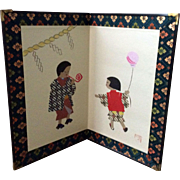 Vintage Japan small folding screen with children collage