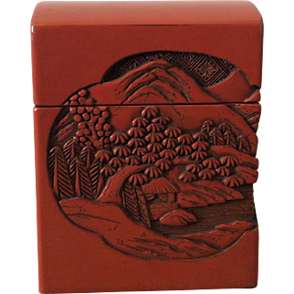Vintage lacquer cigarette box carved with mountain scene and chrysanthemums
