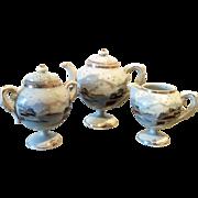 Vintage pedestal teapot, creamer and sugar bowl signed Imperial Japan Kato