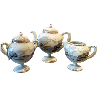 Vintage pedestal teapot, creamer and sugar bowl signed Imperial Japan Kato