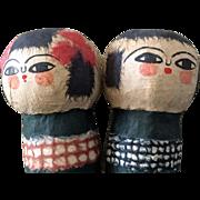 Vintage Japanese papier mache kokeshi dolls - boy & girl pair
