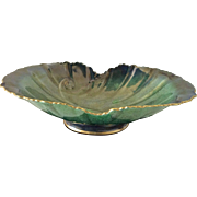 Carlton Ware England Vert Royale bowl in leafy green lustre swirls with gold highlights