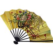 Japan gold folding fan with flower cart - in original box with stand