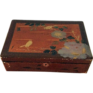 Old Japanese lacquered wood box with key
