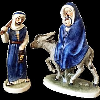 Goebel W Germany Flight into Egypt with ceramic Joseph Mary & Baby Jesus on donkey