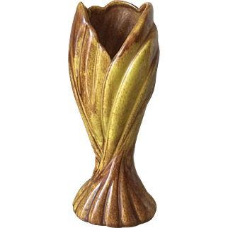 West Coast Pottery brown and yellow vase