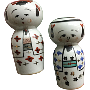 Vintage porcelain kokeshi salt and pepper shakers - girl and boy couple
