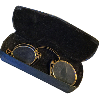 Two pair of PINCE NEZ eyeglasses in case marked Hamburger's Imperial